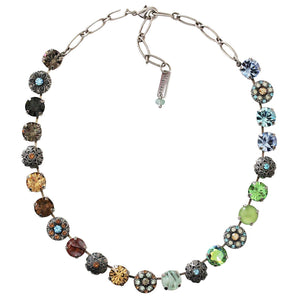 Mariana Forget Me Not Silver Plated Filigree Round Floral Statement Swarovski Crystal Necklace, 3204 1329