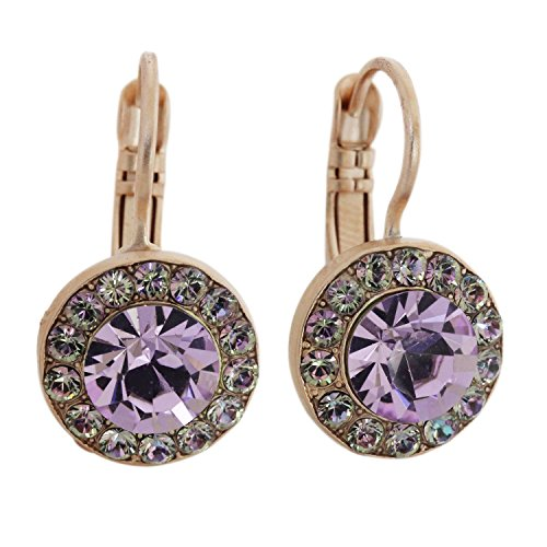 Mariana St. Lucia Rose Gold Plated Round Disc Small Circle Swarovski Crystal Earrings, Iridescent Light Vitrail Violet 1129 1107mr