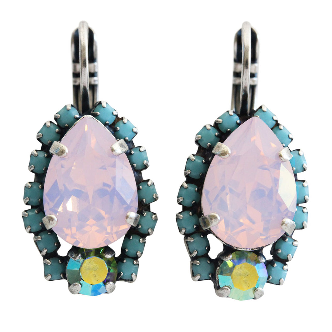 Mariana Summer Fun Pink Blue Iridescent Silver Plated Teardrop Pear Crystal Mosaic Earrings, 1259/1 3711