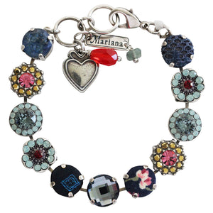"Mariana Dynasty Fabric Silver Plated Large Floral Mosaic Swarovski Crystal Bracelet, 7"" 4084 74401"