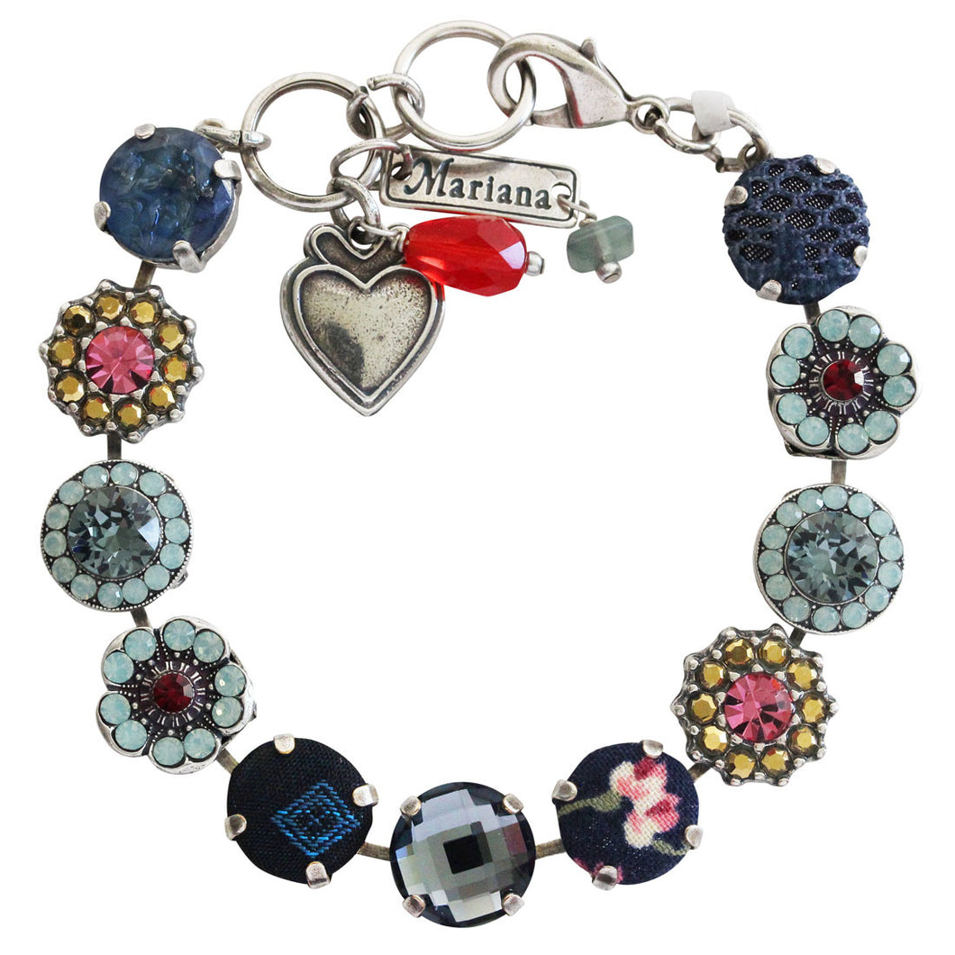 Mariana Dynasty Fabric Silver Plated Large Floral Mosaic Swarovski Crystal Bracelet, 7