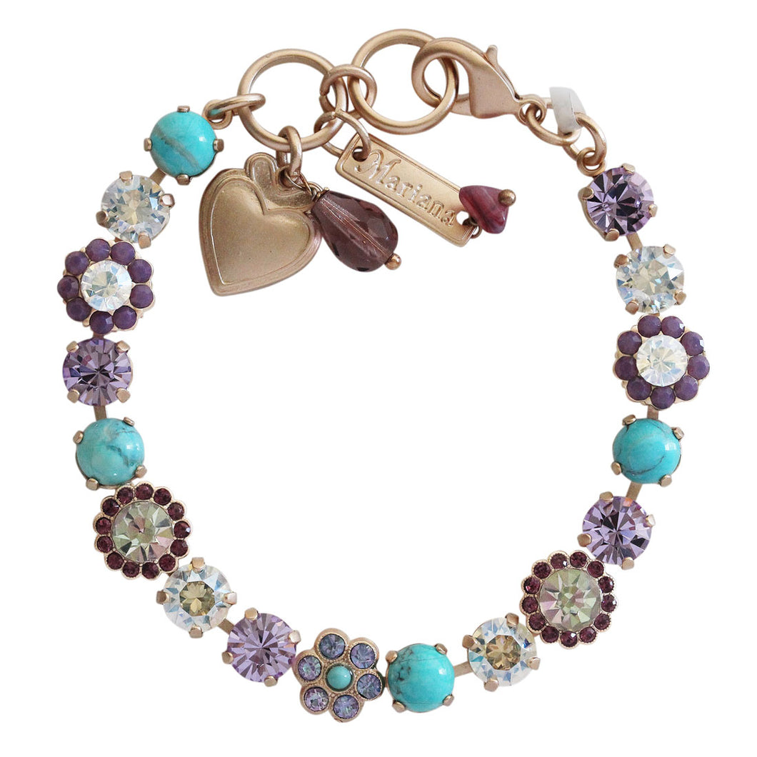 Mariana St. Lucia Rose Gold Plated Petite Floral Flowers Mosaic Swarovski Crystal Tennis Bracelet, 7.5