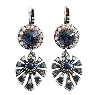 Mariana Mood Indigo Silver Plated Round Fan Dangle Swarovski Crystal Earrings, 1514/3 1069