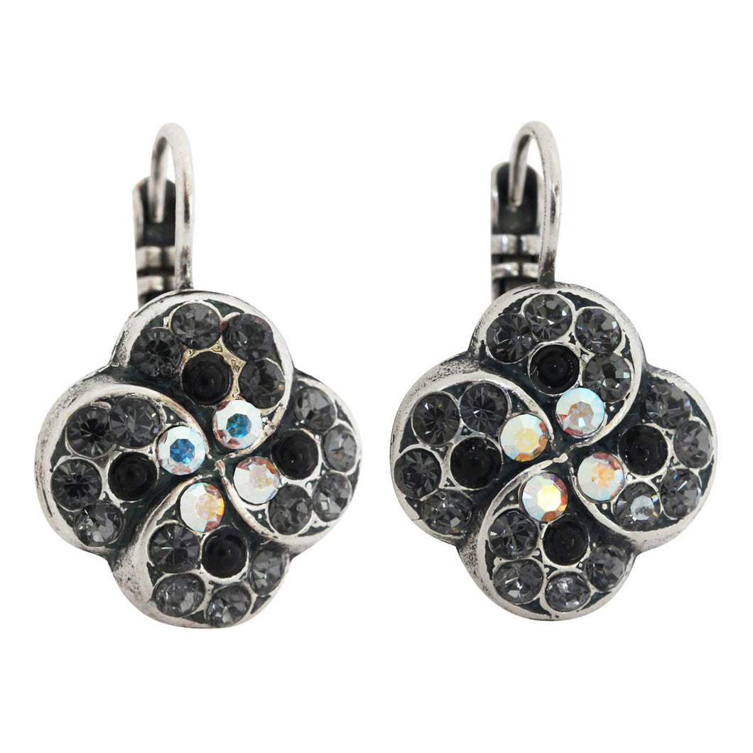 Mariana Tuxedo Silver Plated Swirl Clover Mosaic Swarovski Crystal Earrings, 1319/1 3701