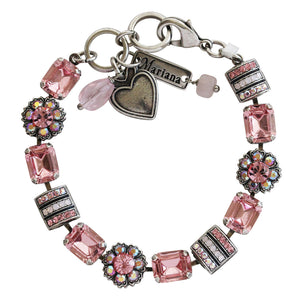 "Mariana ""Pretty in Pink"" Silver Plated Baguette Rectangular Flower Swarovski Crystal Bracelet, 7"" 4099 2230"