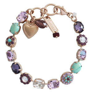 "Mariana St. Lucia Rose Goldtone Oval Floral Mosaic Crystal Bracelet, 7"" Iridescent Light Vitrail Caribbean Life 4416 M11071mr"