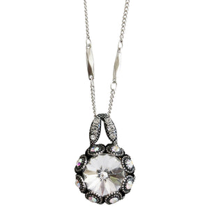 "Mariana ""On A Clear Day"" Silver Plated Rivoli Cut Crystal Surround Swarovski Pendant Necklace, 19.5"" 5070 001AB"