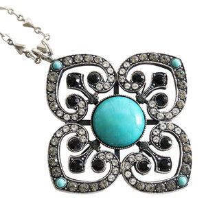 "Mariana ""Zanzibar"" Silver Plated Ornate Clover Pendant Statement Swarovski Crystal Necklace, 28"" 5050 M1081"