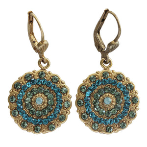 Catherine Popesco 14k Gold Plated Scalloped Ornate Medallion Crystal Earrings, 4867G Blue Teal Marine