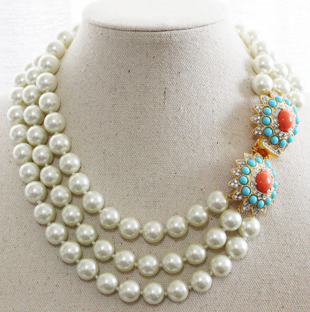 Kenneth Jay Lane 3 Row Faux Glass Pearl Coral Turquoise Crystal Rhinestone Necklace 9639N3TC