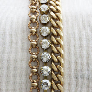 "Catherine Popesco 14k Gold Plated 3 Multi Strand Chain Bracelet, 7.5"" 1749G Shade"