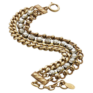 Catherine Popesco 14k Gold Plated 3 Multi Strand Chain Bracelet, 7.5