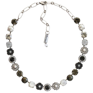 "Mariana Silver Plated Large Flower Shapes Swarovski Crystal 18"" Necklace, Zulu 3045/1 m1080"