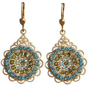 Catherine Popesco 14k Gold Plated Filigree Drop Crystal Earrings, 9844G Green Teal