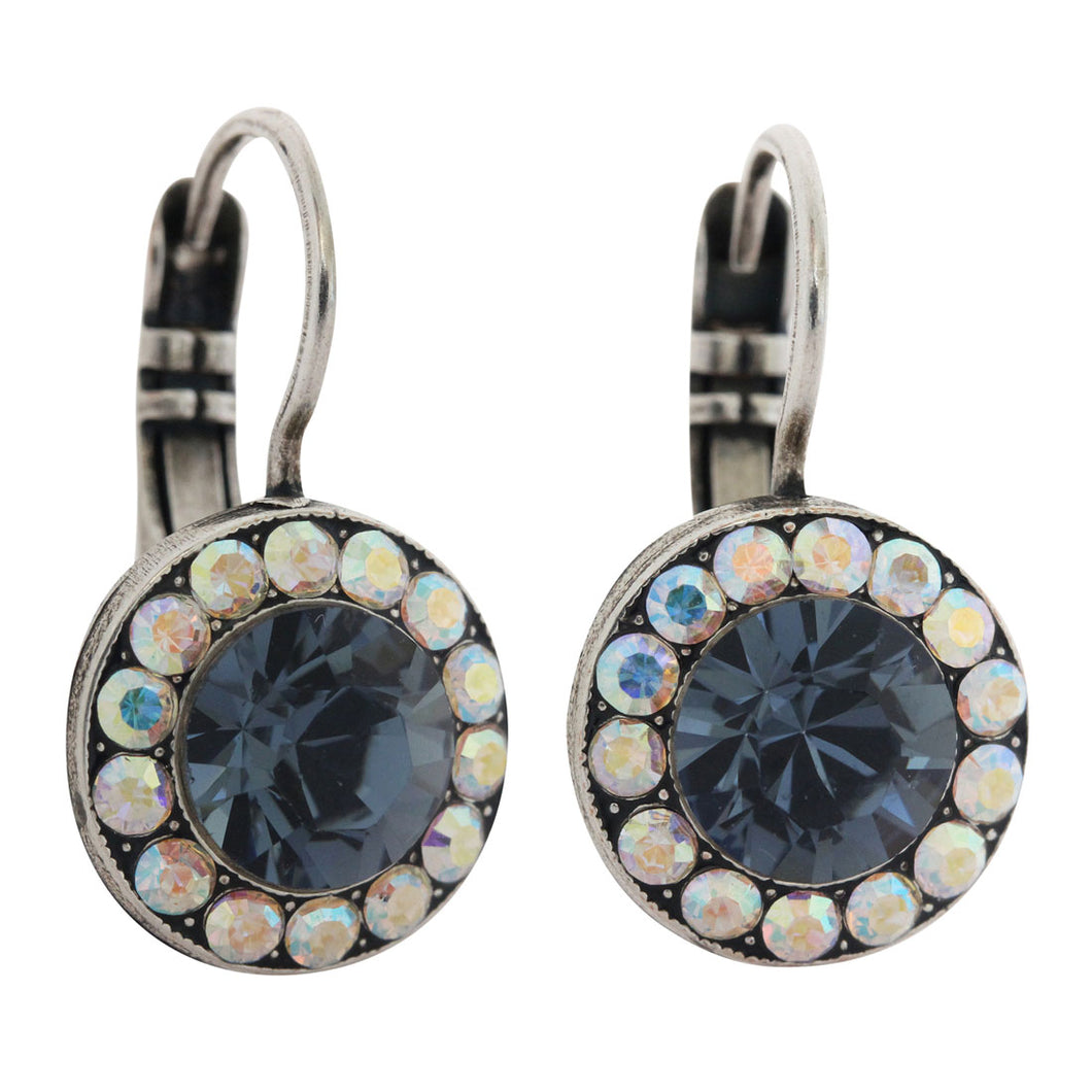 Mariana Silver Plated Round Disc Small Swarovski Crystal Earrings, Mood Indigo 1129 1069