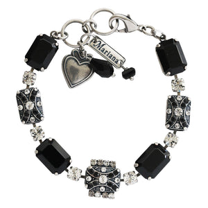 "Mariana Checkmate Silver Plated Rectangle Mosaic Swarovski Crystal Statement Bracelet, 7.25"" Black Clear 4080/1 280-1"