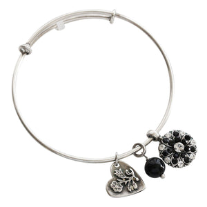 "Mariana Guardian Angel Swarovski Crystal Bangle Bracelet, 2.5"" Black Clear 4612M 280-1"