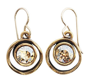 Patricia Locke Skeeball Goldtone Round Double Ring Crystal Earrings, Golden Shadow EF0619G