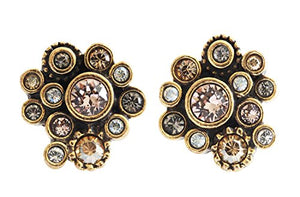 Patricia Locke Pebbles Gold Plated Post Stud Swarovski Mosaic Earrings, EP0252S Champagne