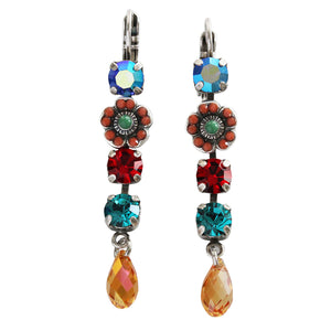 "Mariana ""Fantasy"" Silver Plated Floral Dangle Drop Crystal Swarovski Earrings, 1504/1 1037"