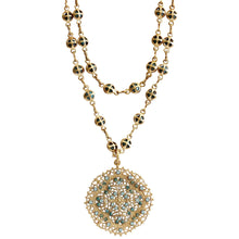 "Catherine Popesco 14k Gold Plated Filigree Medallion Beaded Chain Necklace, 20.5"" 1125G Pacific Opal Bright"
