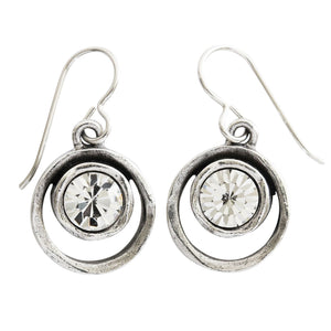 Patricia Locke Skeeball Sterling Silver Plated Swarovski Round Earrings, All Crystal EF0619S