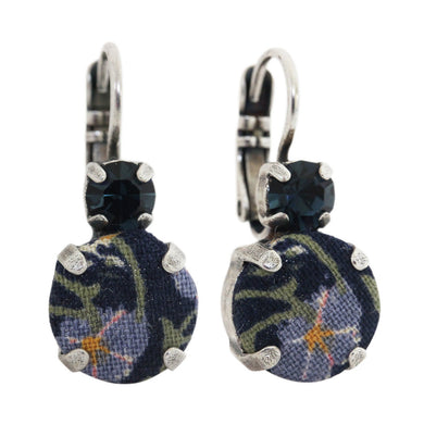 Mariana Royal Blue Silver Plated Fabric Floral Double Drop Medium Swarovski Earrings, 1037 7207