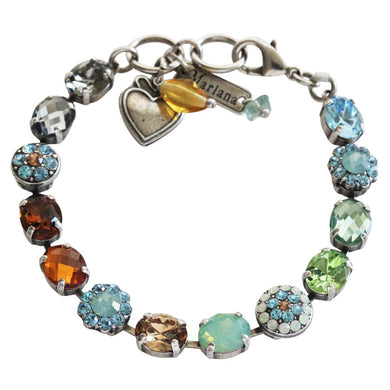 Mariana Forget Me Not Silver Plated Oval Floral Mosaic Swarovski Crystal Bracelet, 7
