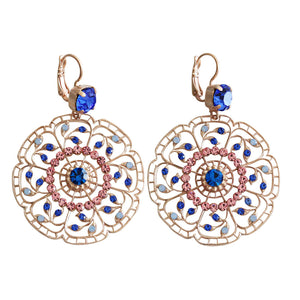 "Mariana ""Kiss from a Rose"" Rose Gold Plated Filigree Flower Floral Large Statement Swarovski Crystal Earrings, 1210 1068mr"