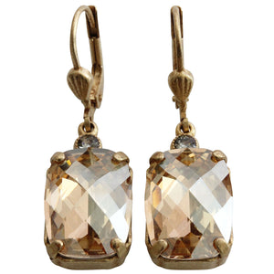 Catherine Popesco 14k Gold Plated Crystal Rectangular Earrings, 6560G Champagne