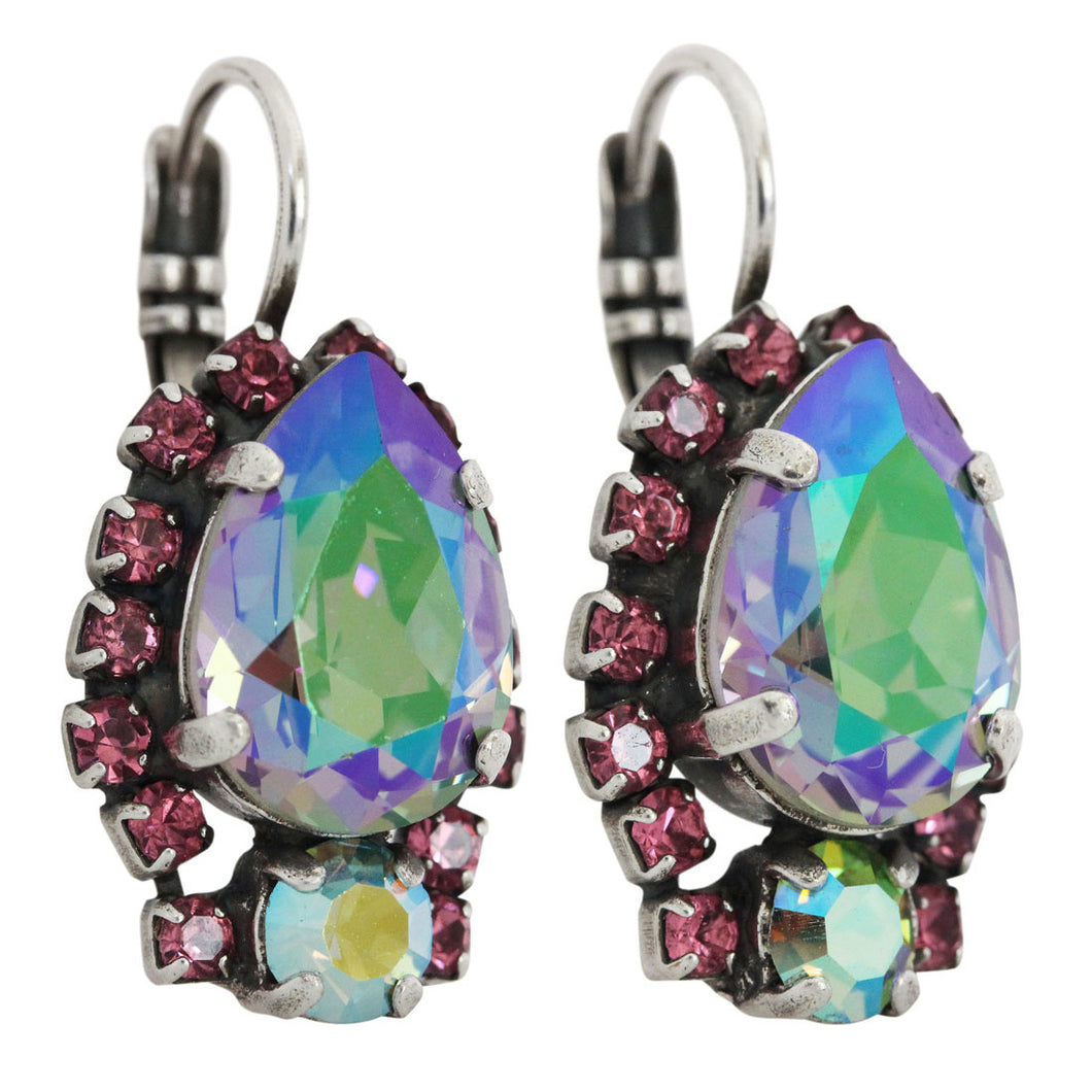 Mariana Paradise Shine Silver Plated Teardrop Surrounding Swarovski Crystal Earrings, 1259/1 20022