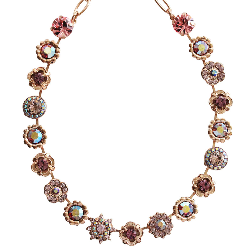 Mariana Rose Gold Plated Flower Garden Swarovski Crystal Necklace, 17