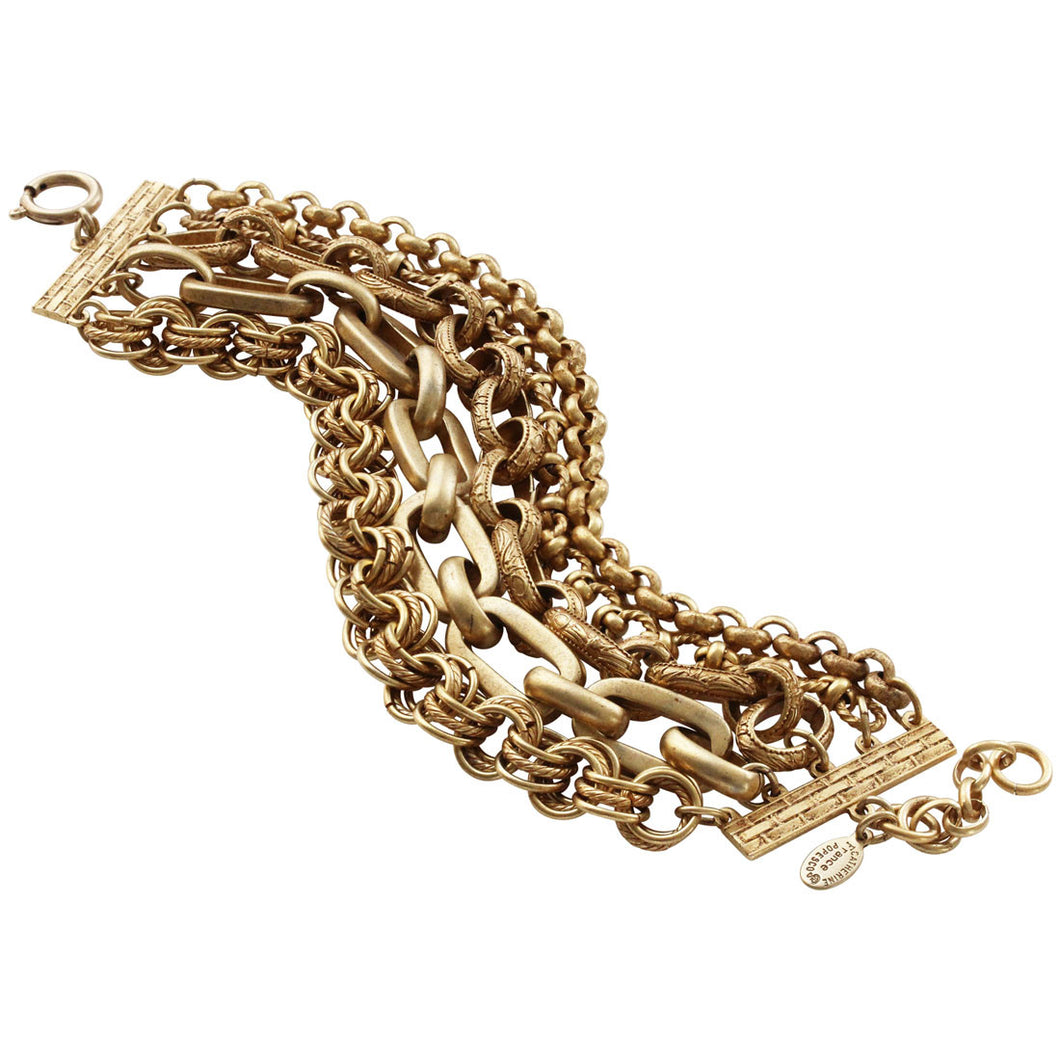 Catherine Popesco 14k Gold Plated 5 Multi Strand Chain Bracelet, 7.75