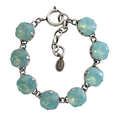Catherine Popesco Sterling Silver Plated Crystal Round Bracelet, 1696 Pacific Opal