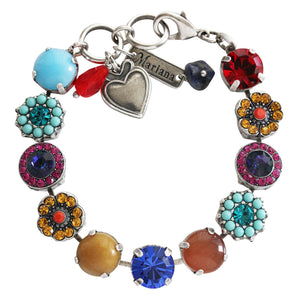 "Mariana ""Fantasy"" Silver Plated Large Flower Shapes Swarovski Crystal Bracelet, 7"" 4084 1037"