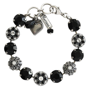 "Mariana Checkmate Silver Plated Filigree Floral Mosaic Statement Swarovski Crystal Bracelet, 7"" 4213 280-1"