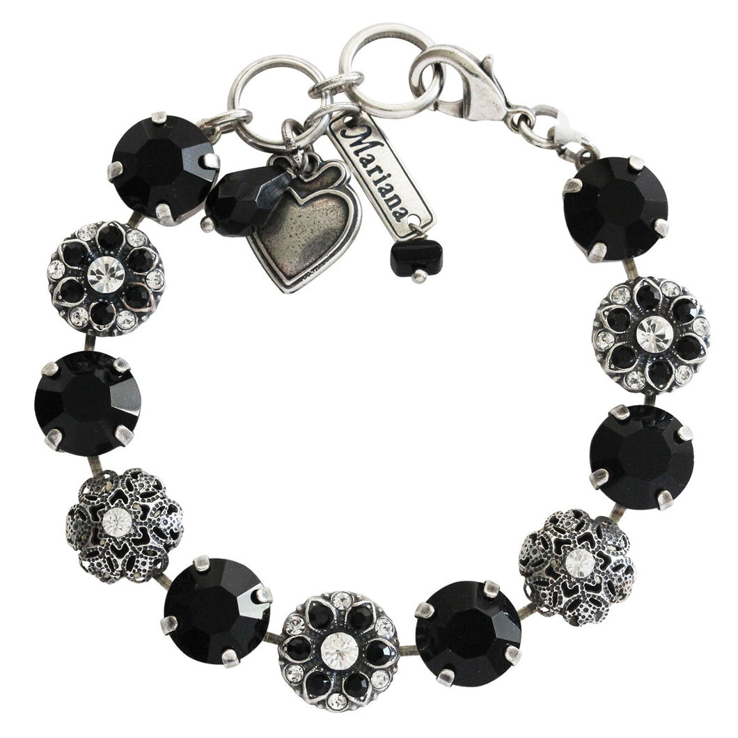 Mariana Checkmate Silver Plated Filigree Floral Mosaic Statement Swarovski Crystal Bracelet, 7