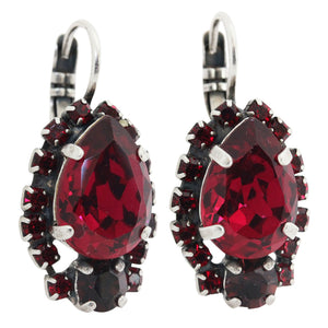 Mariana Lady in Red Silver Plated Teardrop Surrounding Swarovski Crystal Earrings, 1259/1 1070