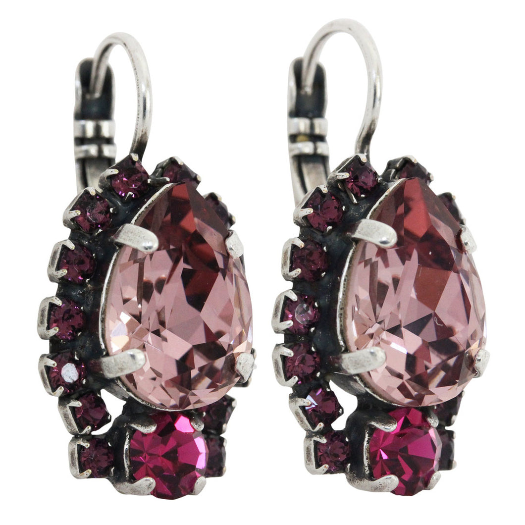 Mariana Purple Passion Silver Plated Teardrop Surrounding Swarovski Crystal Earrings, 1259/1 10720