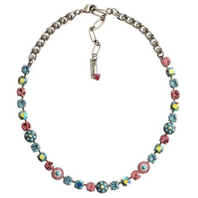 "Mariana Silver Plated Flower Shapes Swarovski Crystal Necklace, 16"" Summer Fun 3044/1 3711"