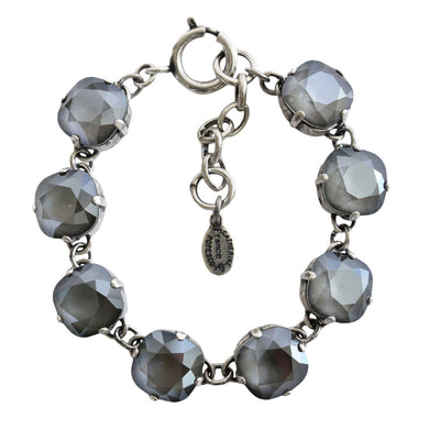 Catherine Popesco Sterling Silver Plated Crystal Round Bracelet, 1696 Dark Gray