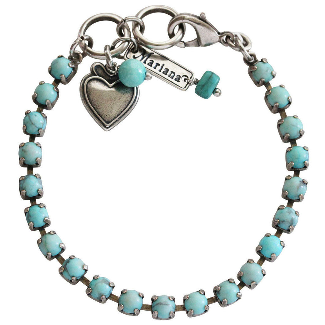 Mariana Turquoise Silver Plated 5mm Petite Classic Tennis Swarovski Crystal Bracelet, 7