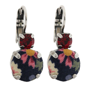 Mariana Dynasty Fabric Multi Color Floral Double Drop Medium Swarovski Earrings, 1037 74401
