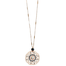 "Mariana ""Mood Indigo"" Rose Gold Plated Filigree Flower Floral Large Statement Swarovski Crystal Pendant Necklace, 30"" 5210 1069mr"