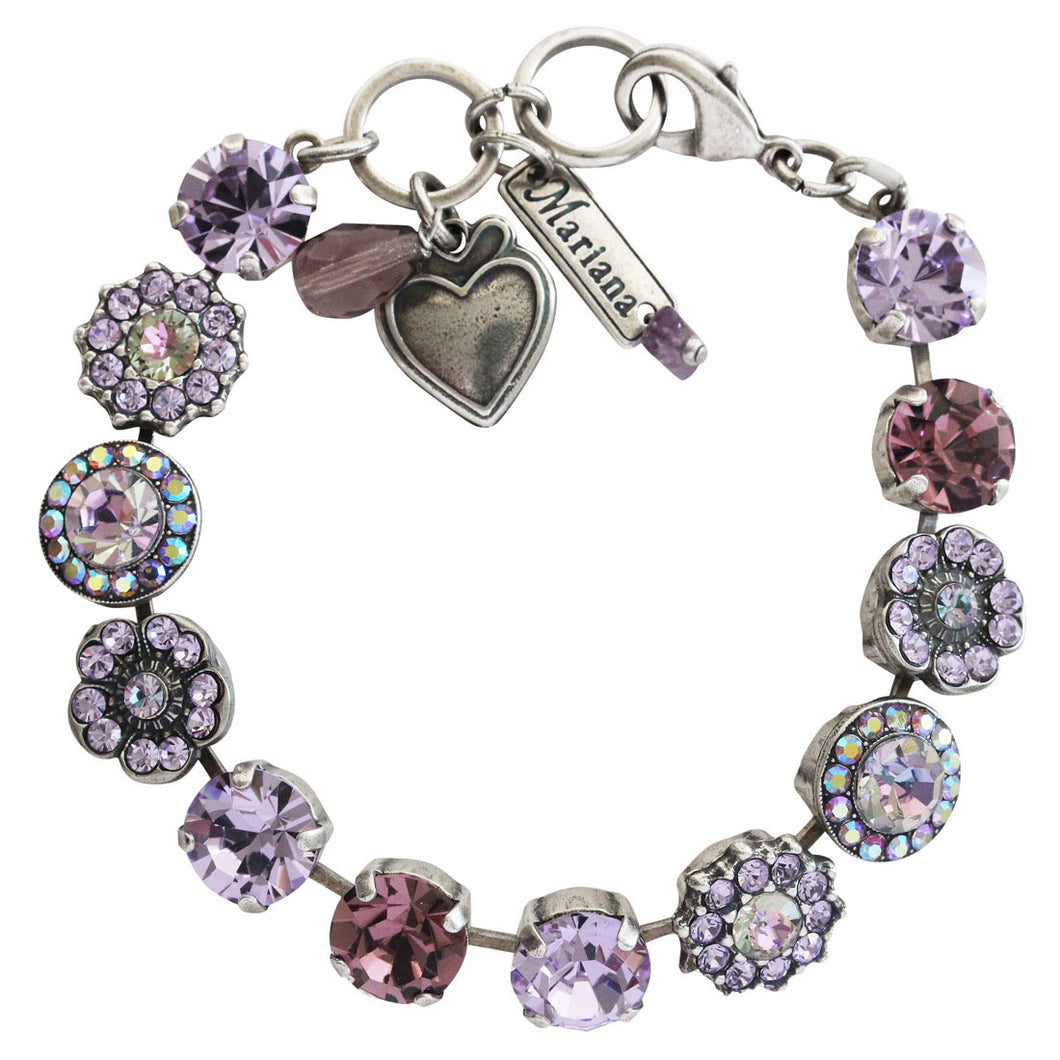 Mariana Light Vitrail Purple Violet Silver Plated Large Flower Shapes Swarovski Crystal Mosaic Bracelet, 7