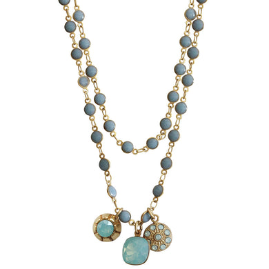 Catherine Popesco 14k Gold Plated 3 Charm Beaded Enamel Double Chain Swarovski Crystal Necklace, 21