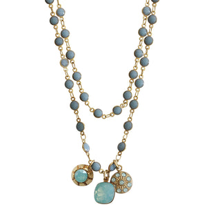 "Catherine Popesco 14k Gold Plated 3 Charm Beaded Enamel Double Chain Swarovski Crystal Necklace, 21"" 1224G Pacific Blue"
