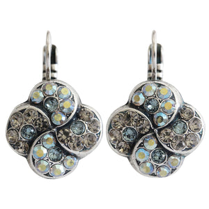 "Mariana ""Martini"" Silver Plated Swirl Clover Swarovski Crystal Earrings, 1319/1 215-3"