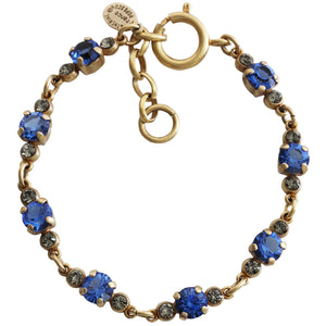 "Catherine Popesco 14k Gold Plated Petite Crystal Bracelet, 7-8"" 1684G Sapphire"