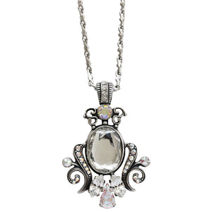 "Mariana Silver Plated Ornate Oval Scroll Pendant Swarovski Crystal Necklace, 25"" On A Clear Day 5023/5 0011AB"